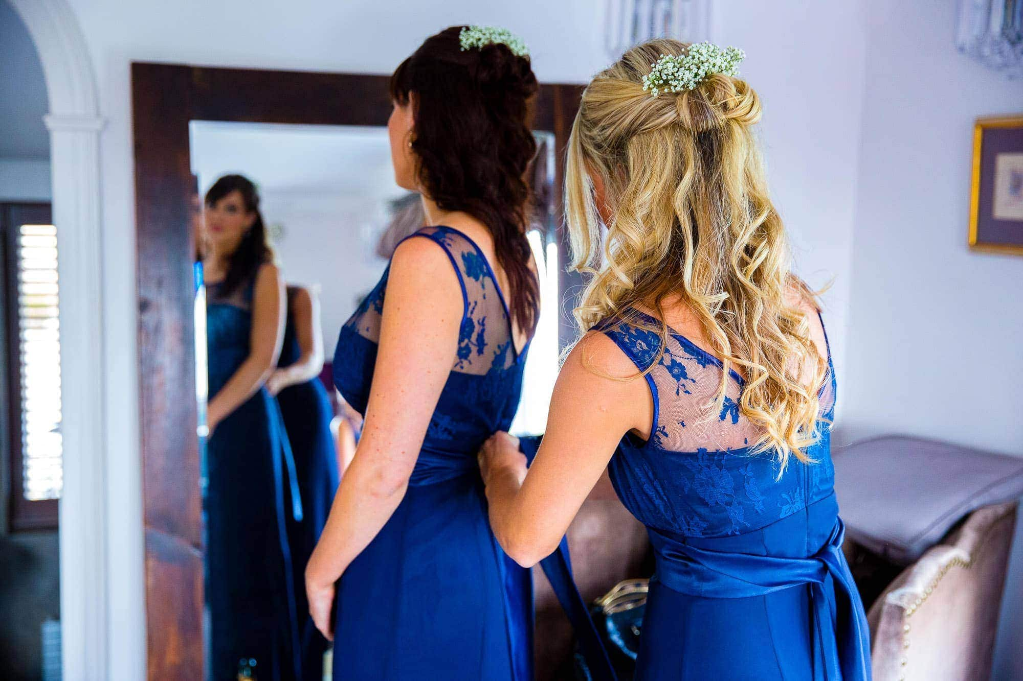 Blue Bridesmaid dresses with lace detail Bridal Preparation at Russets Country House Wedding Venue