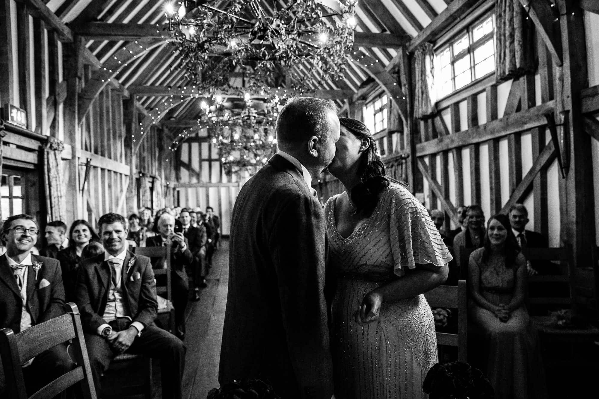 First Kiss Gate Street Barn Wedding