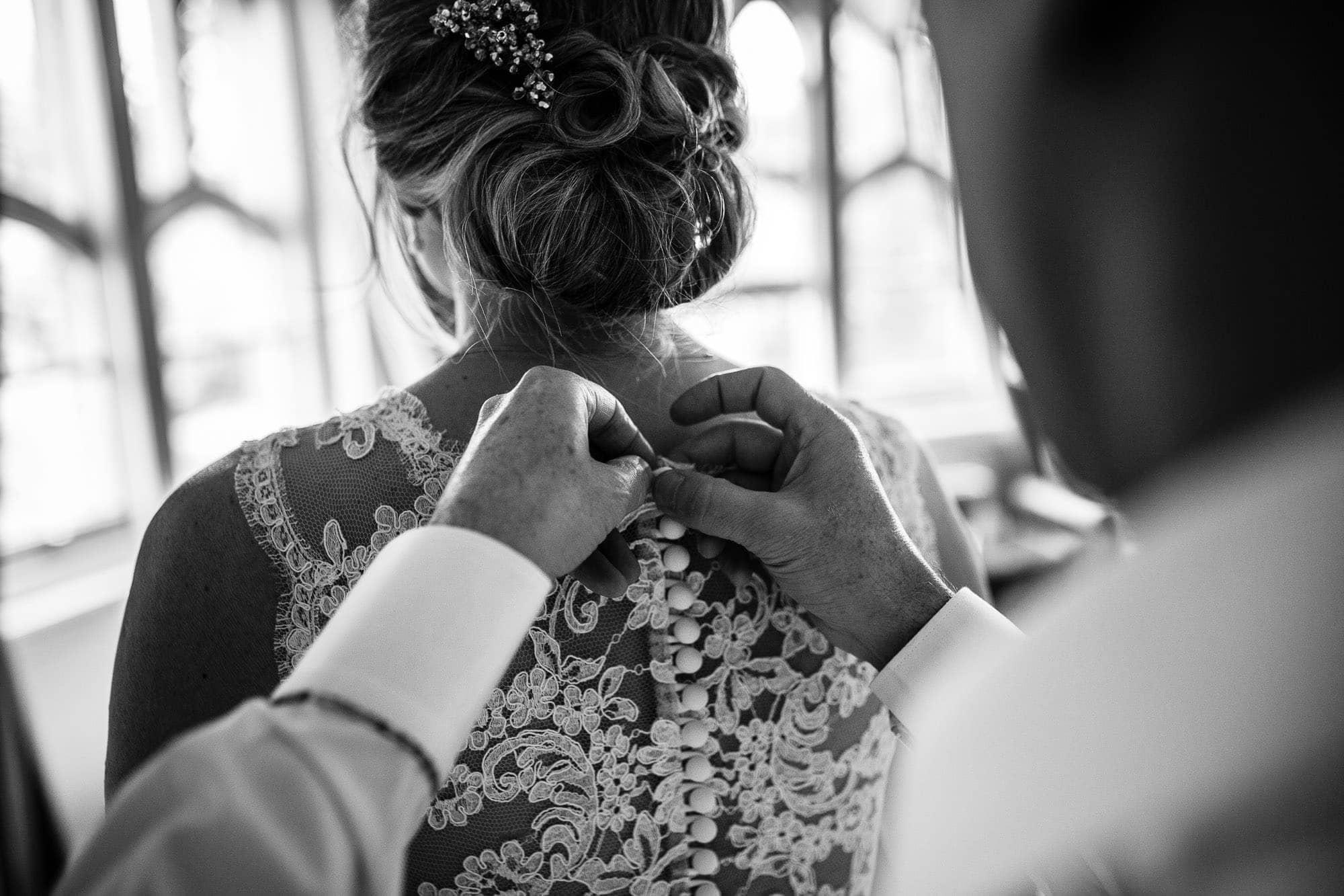 Buttons on wedding dress