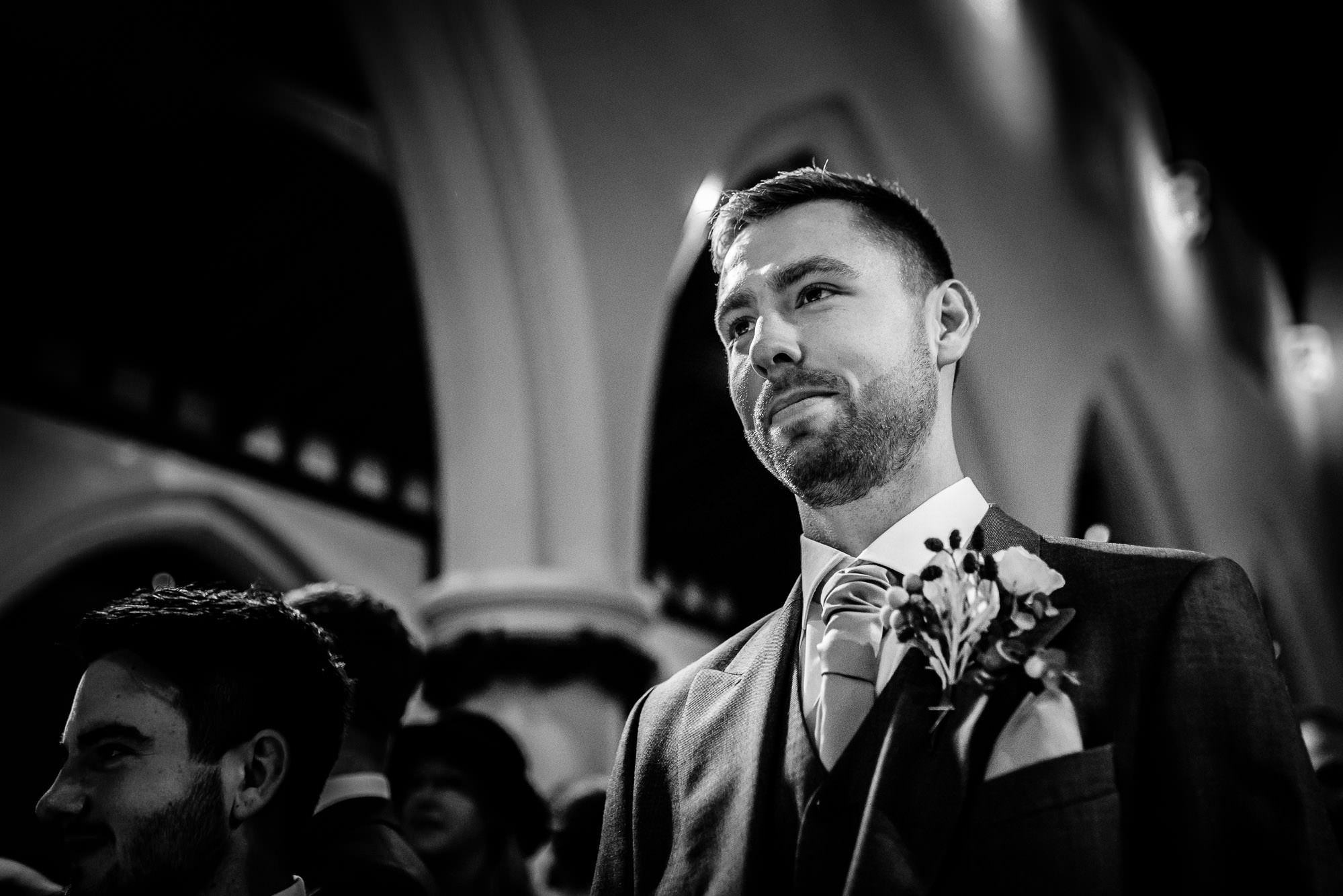 Groom looking nervous St James Parish Church, Weybridge