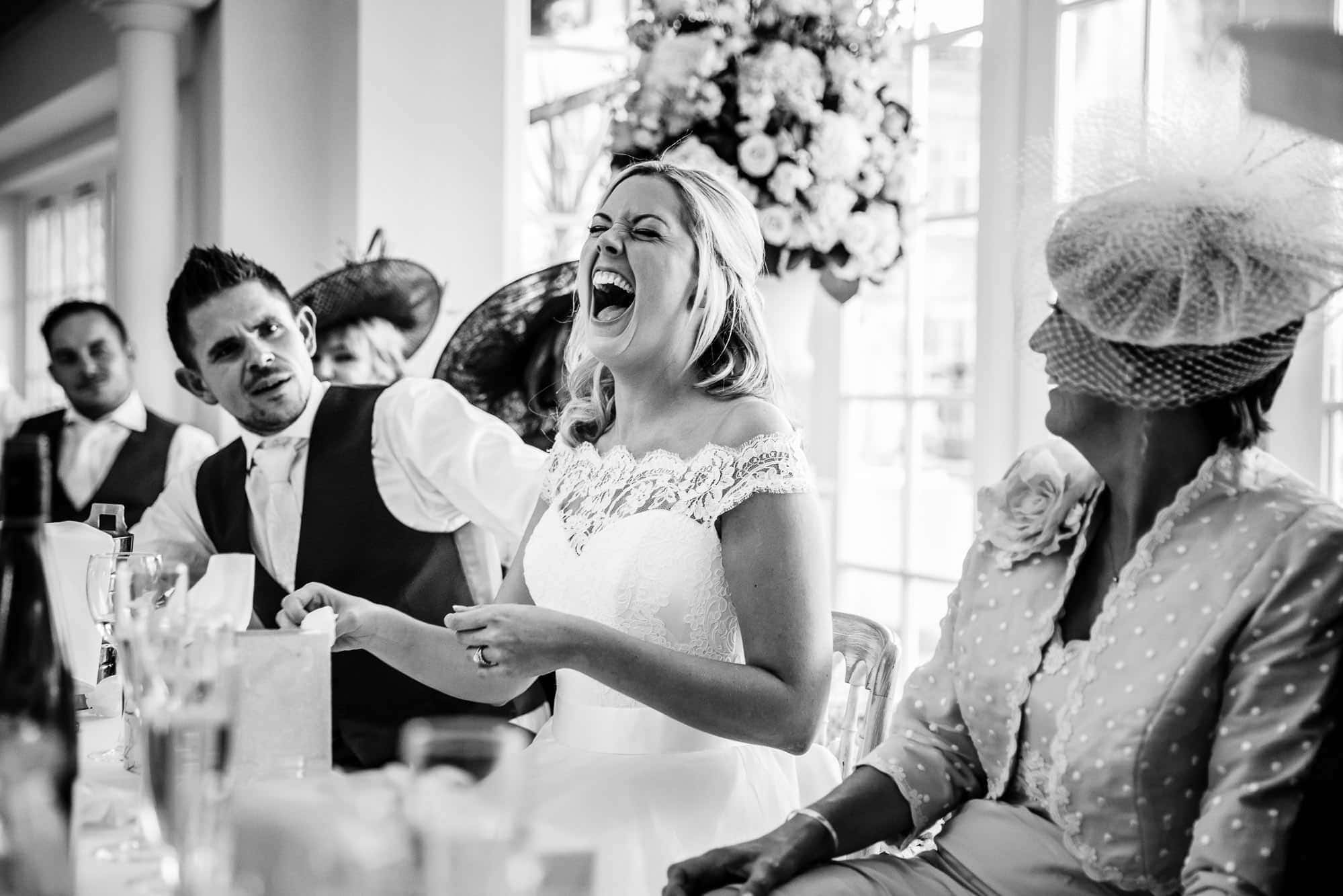 Surrey Wedding Photographer - Speeches at Froyle Park Wedding - Black and White