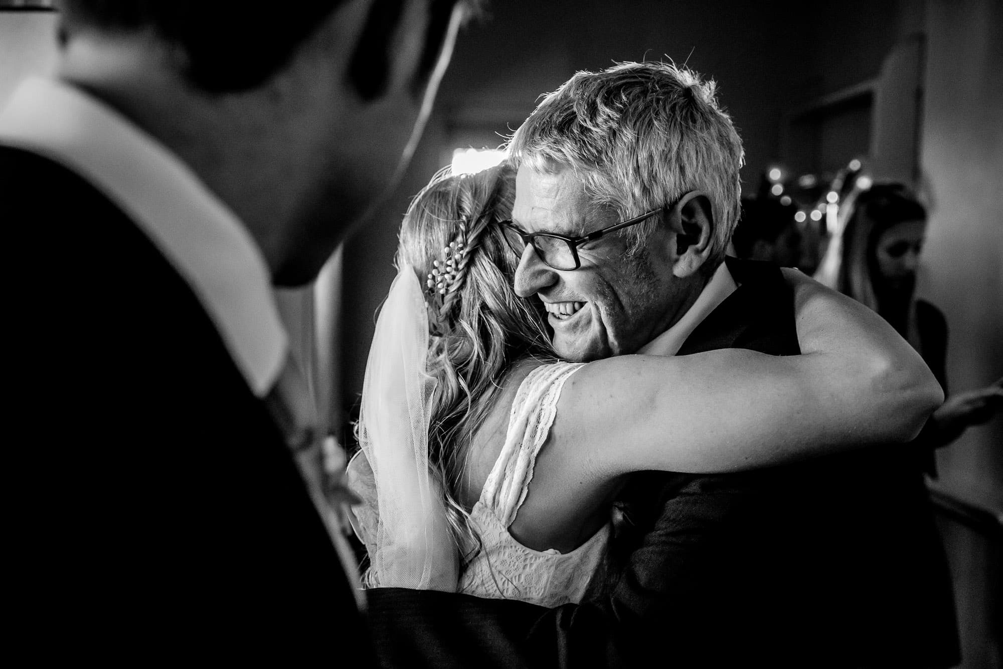 Sussex Wedding Photographer - Bride and Father Hug