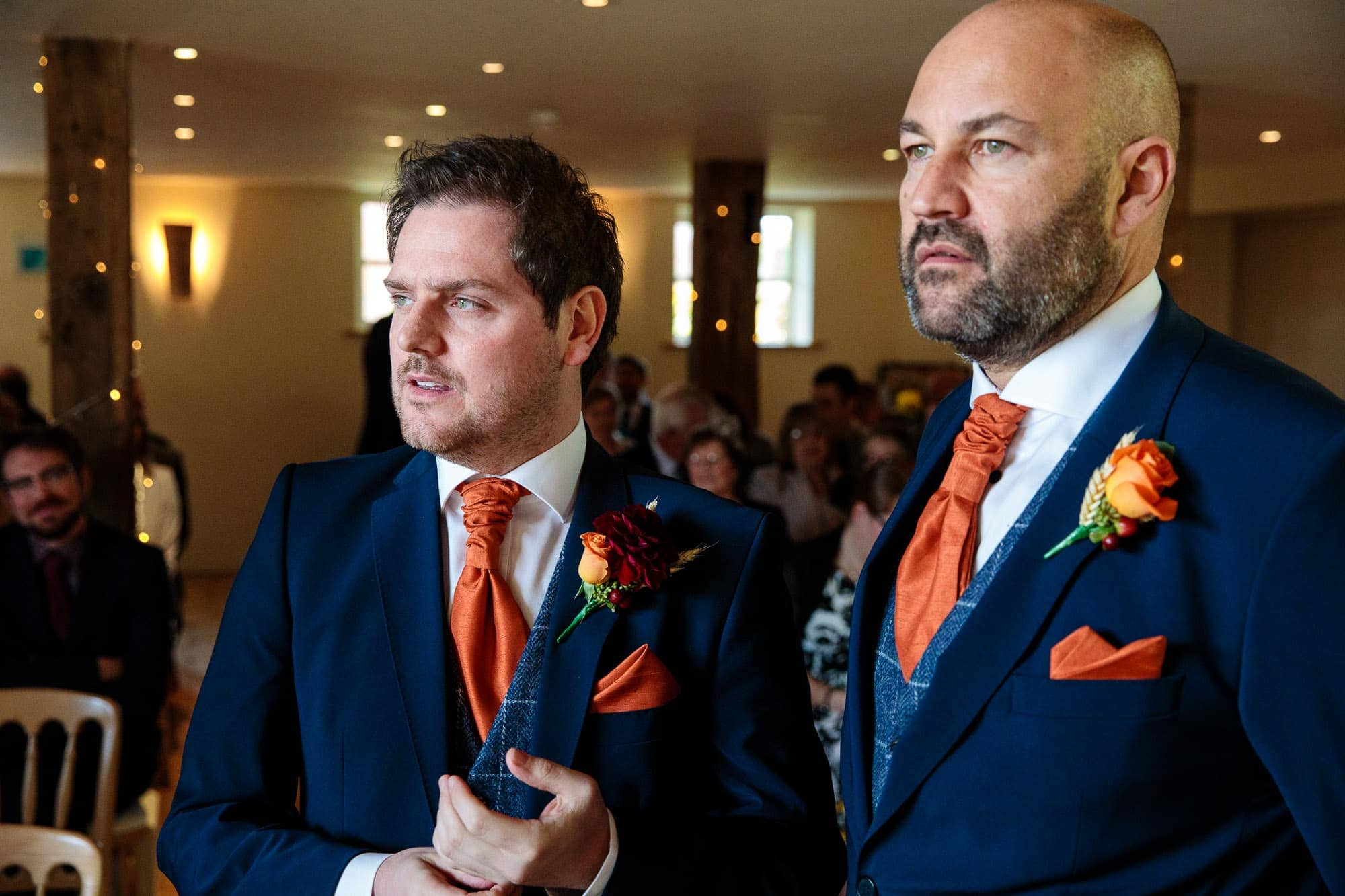 Bury Court Barn Wedding Photography Orange Colour Scheme Autumn Colours