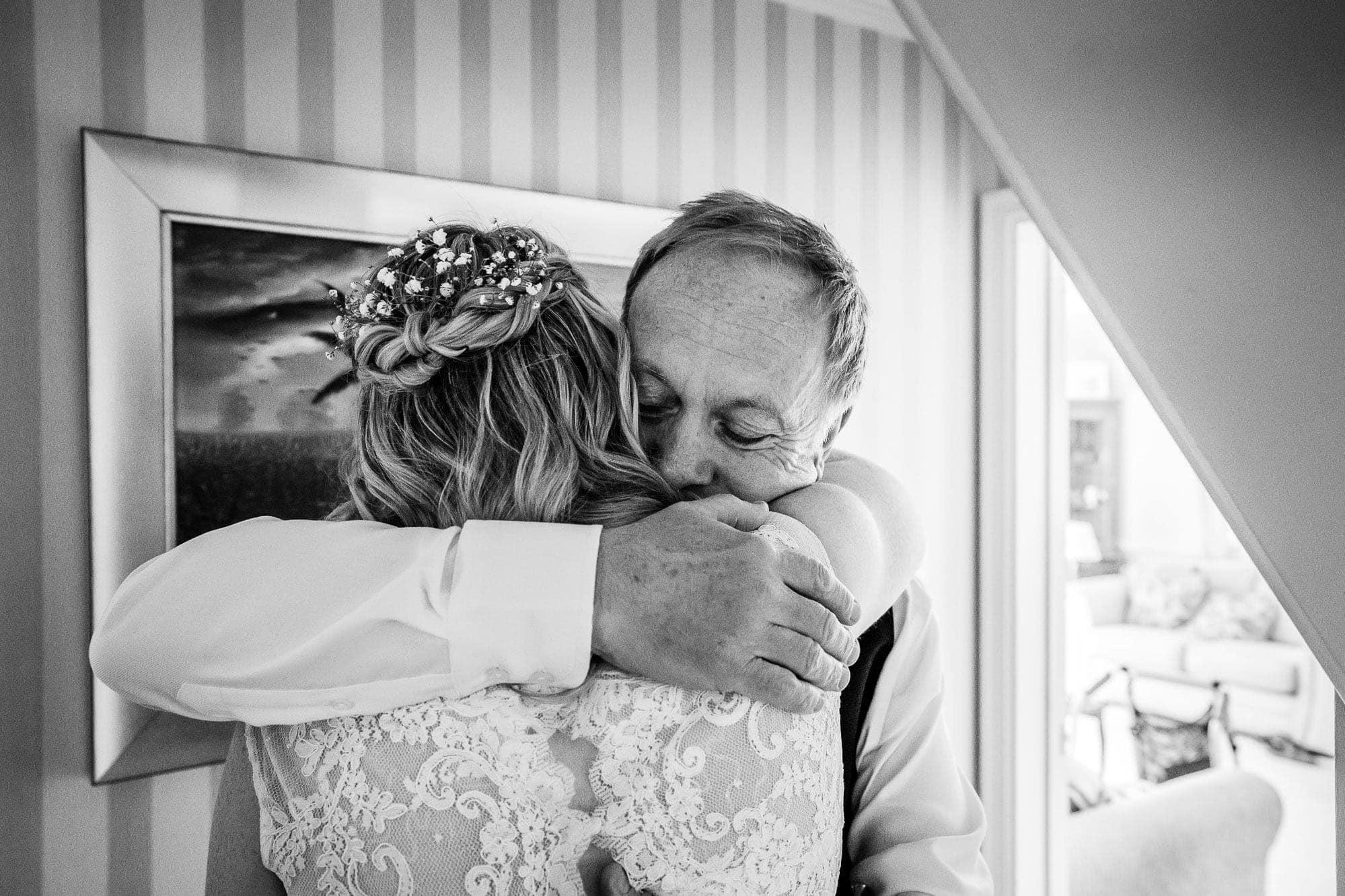 Gate Street Barn Wedding Photography - Bride and Father Hug