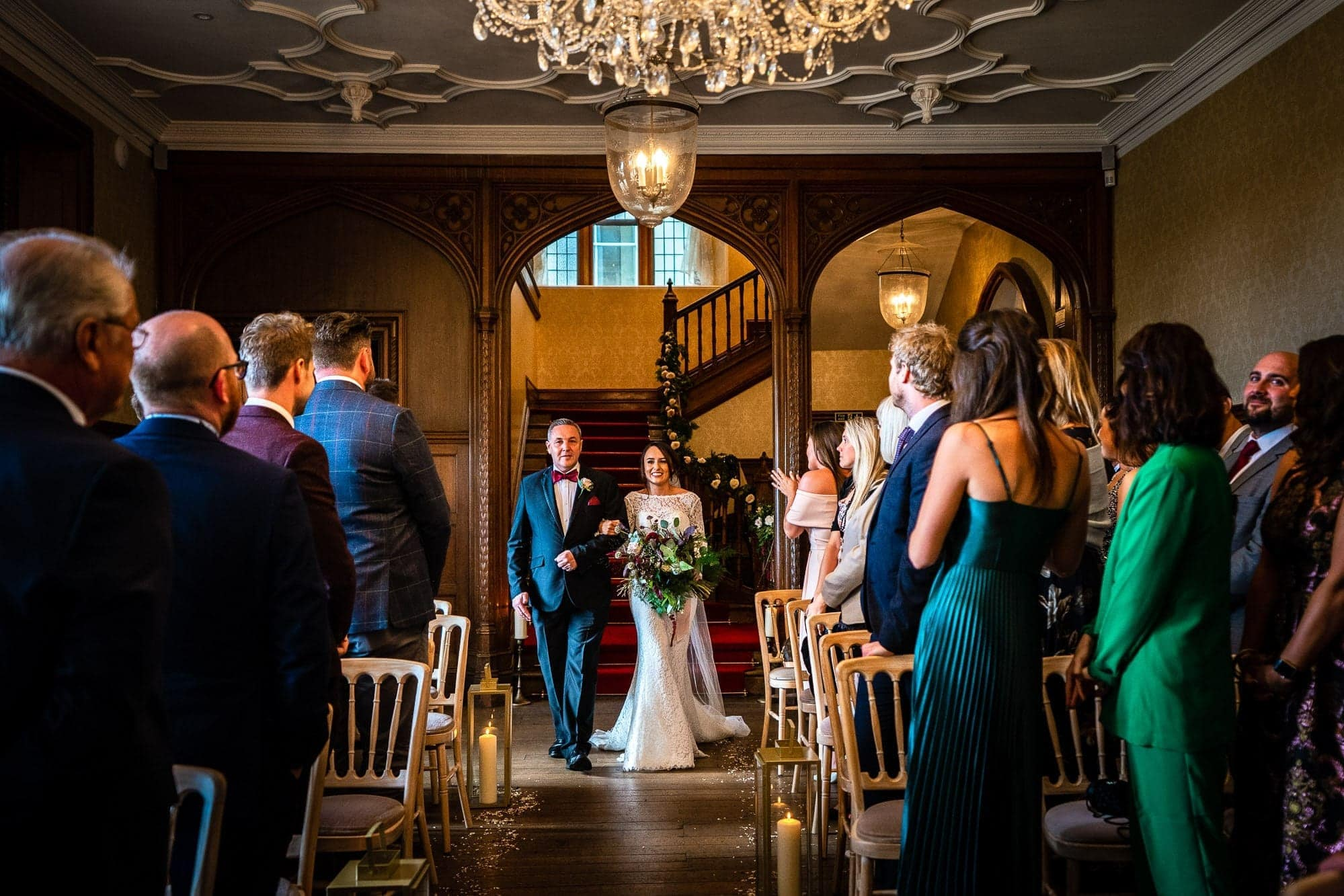Froyle Park Wedding Photography - Bride walking down aisle with her father