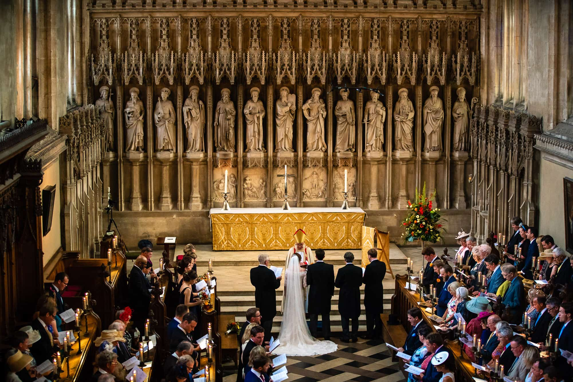 New College Chapel Oxford Wedding Photography - Wedding Ceremony from the back of the chapel