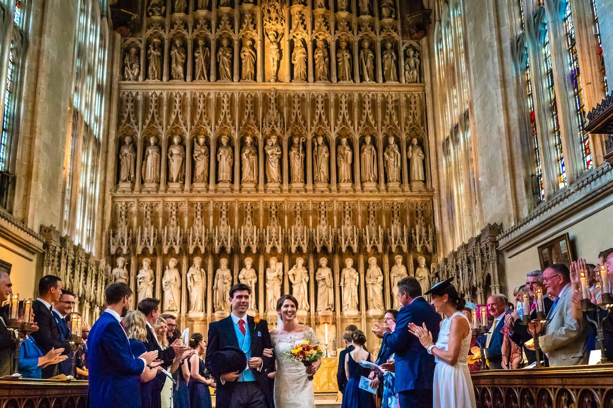 New College Chapel Oxford Wedding - Bride and Groom exiting the chapel