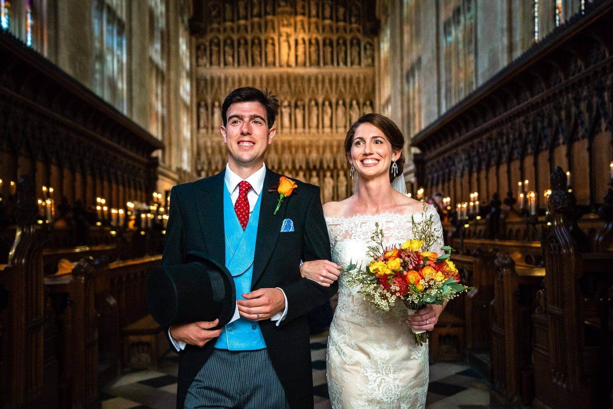 New College Chapel Oxford Wedding - Bride and Groom leaving the chapel