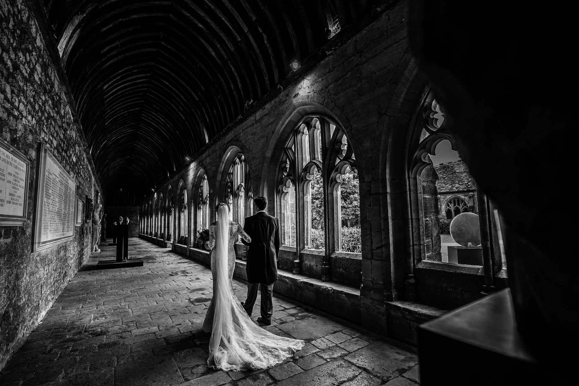New College Chapel Oxford Wedding Photography - Wedding Portrait in the Cloisters at New College Oxford - in BW
