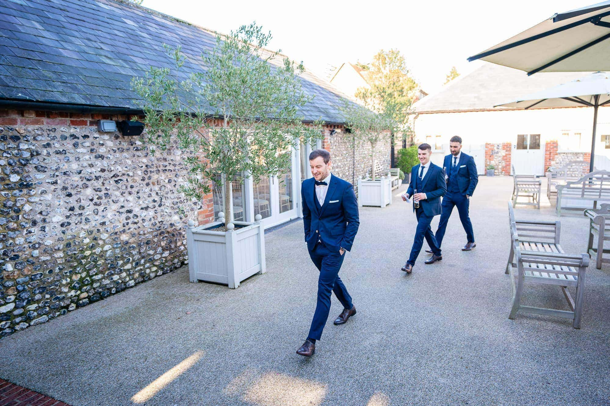 Groom and Ushers heading to ceremony Farbridge Wedding