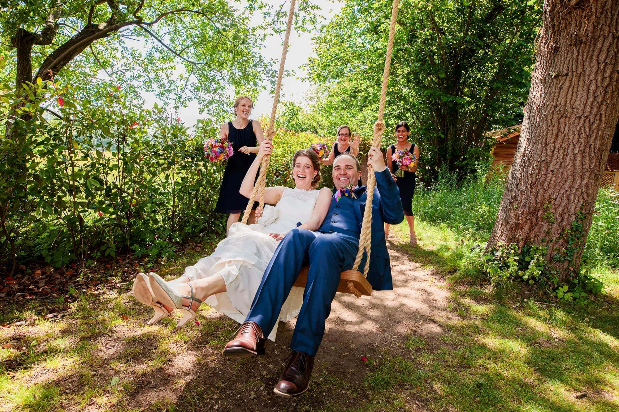 Millbridge Court Wedding Photographer - Couple on the Swing
