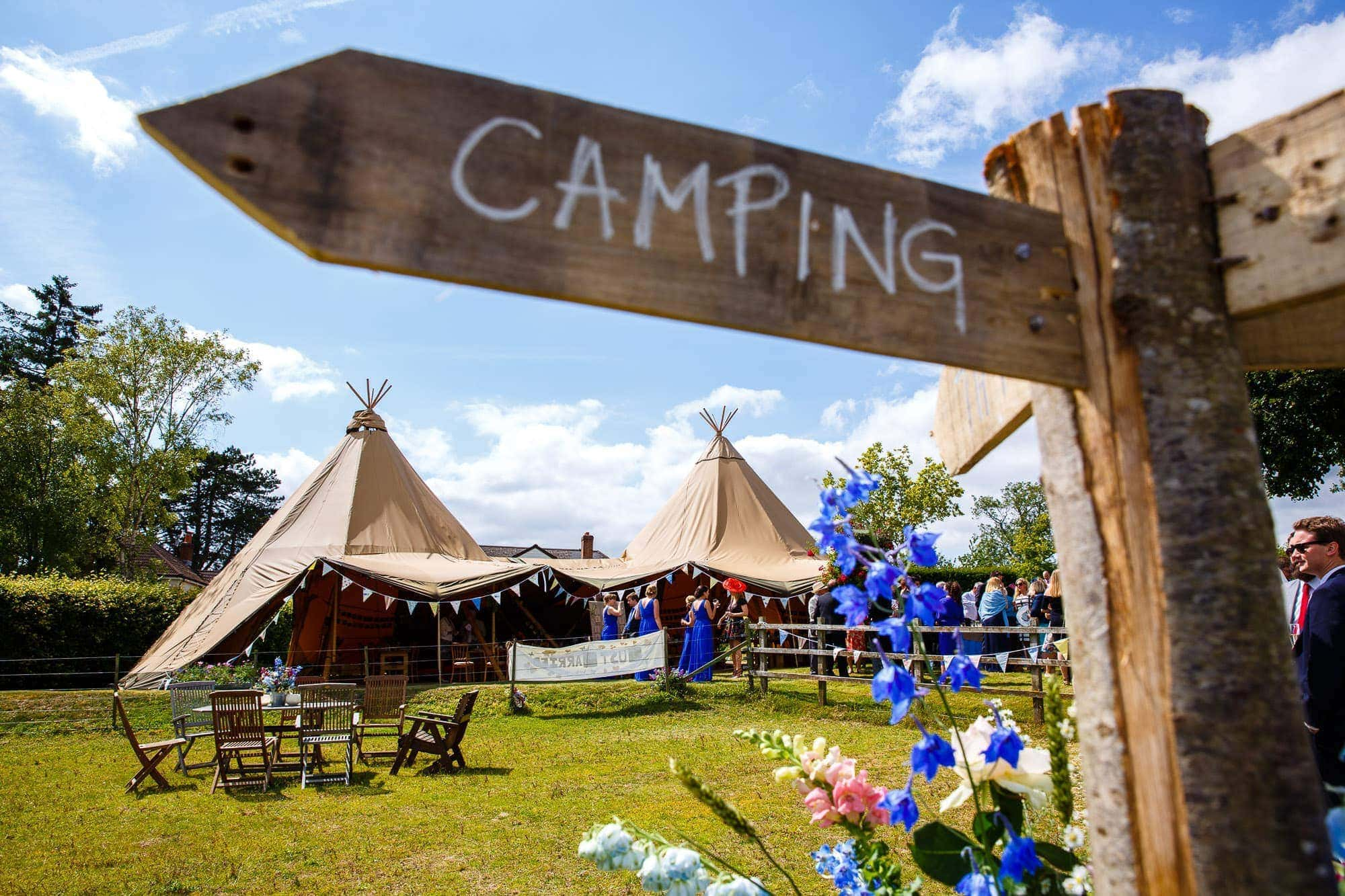 Tipi Wedding Hampshire - with homemade Camping Sign