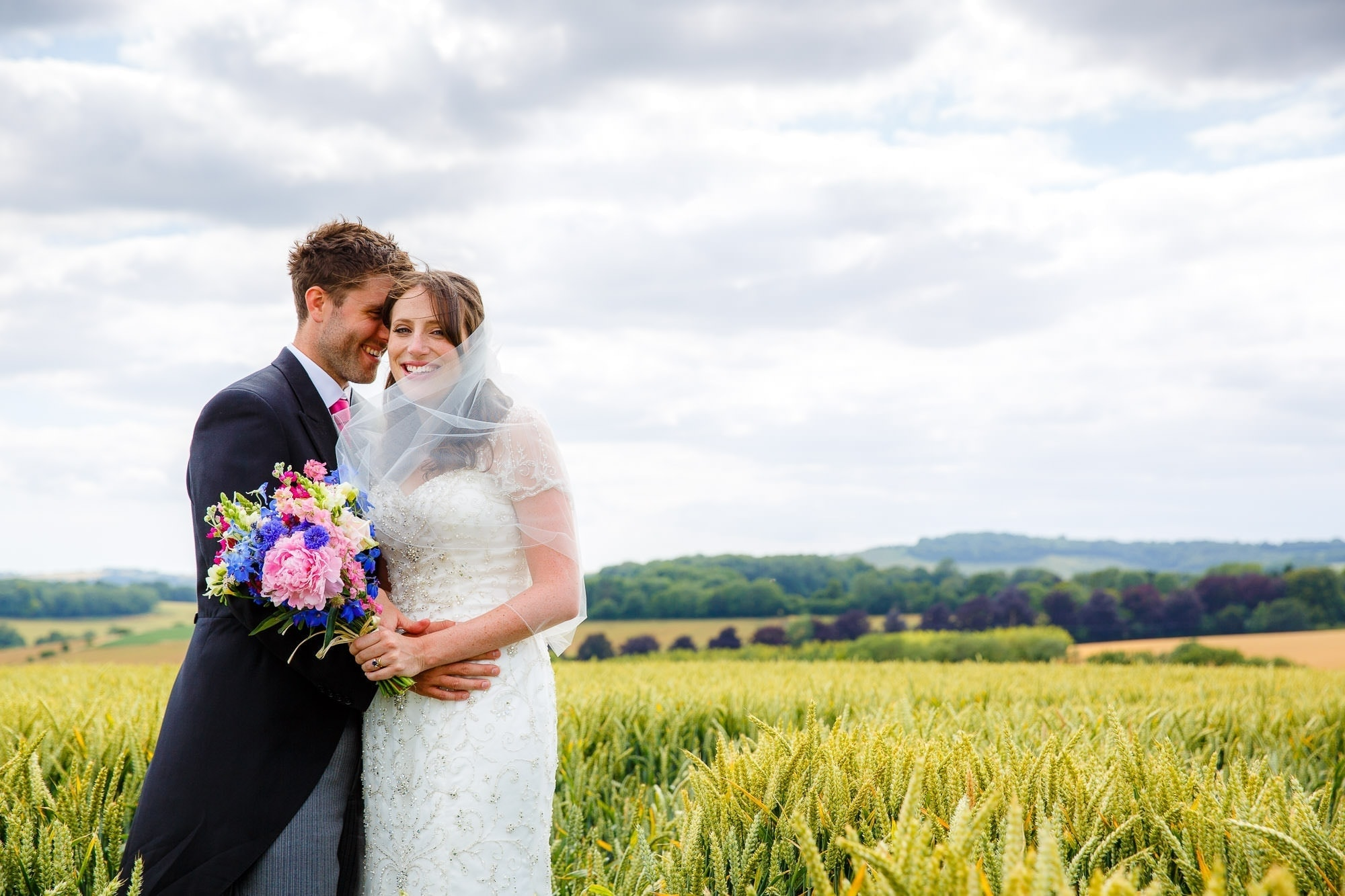 Tipi Wedding Hampshire - Wedding Couple Portraits in Corn Field