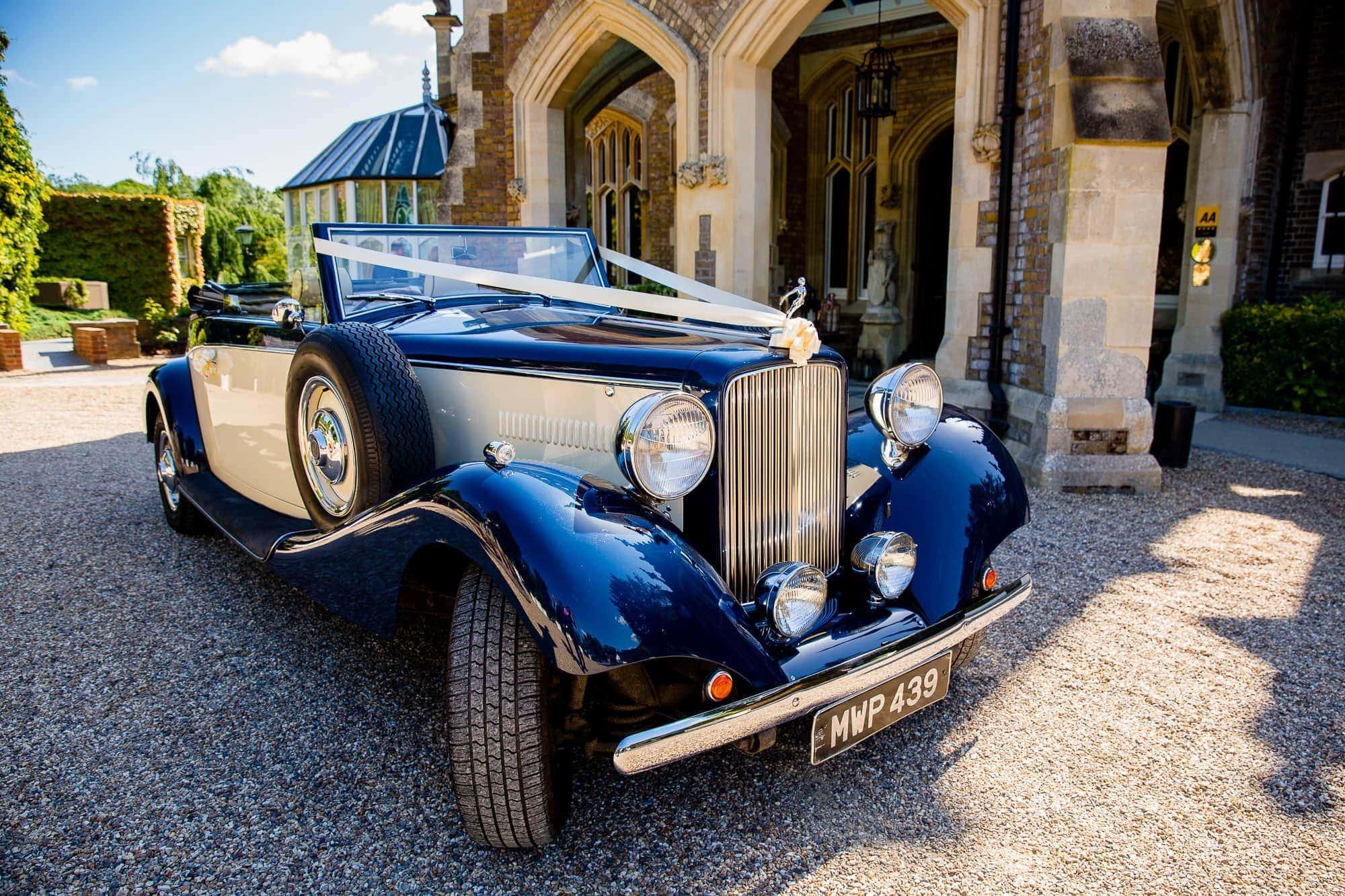 Drophead Jaguar Wedding Car at Oakley Court Wedding
