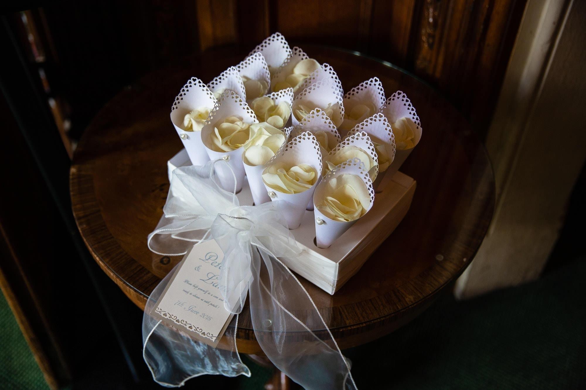 Confetti Cones with White flower petals
