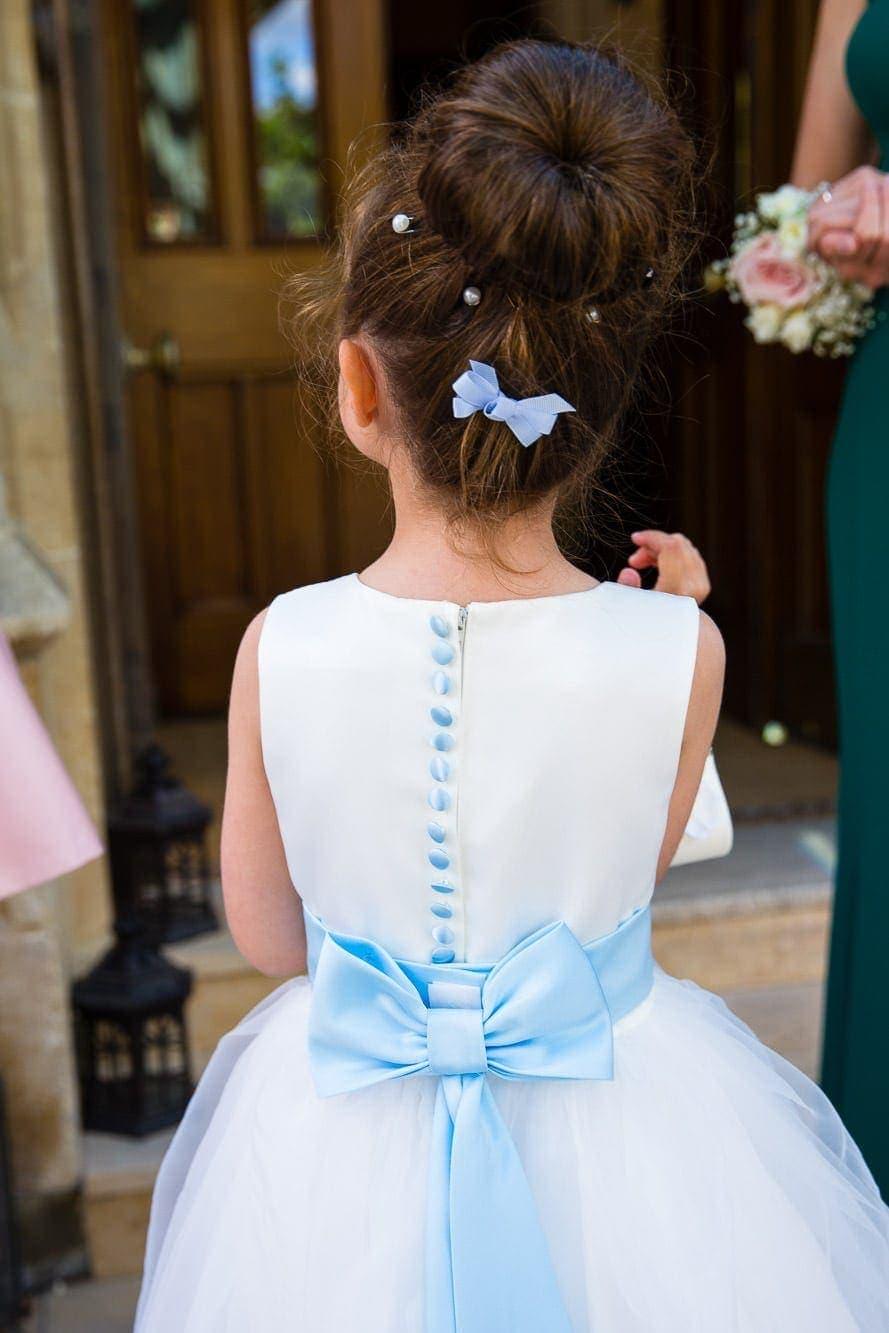 Flower Girl, white dress blue bow ribbon