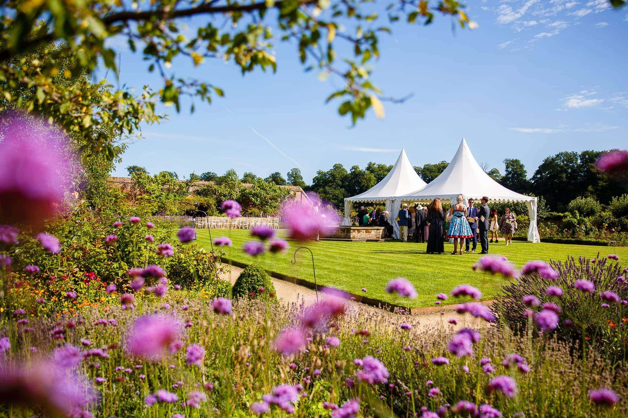Guests in the garden at Walled Garden Cowdray wedding