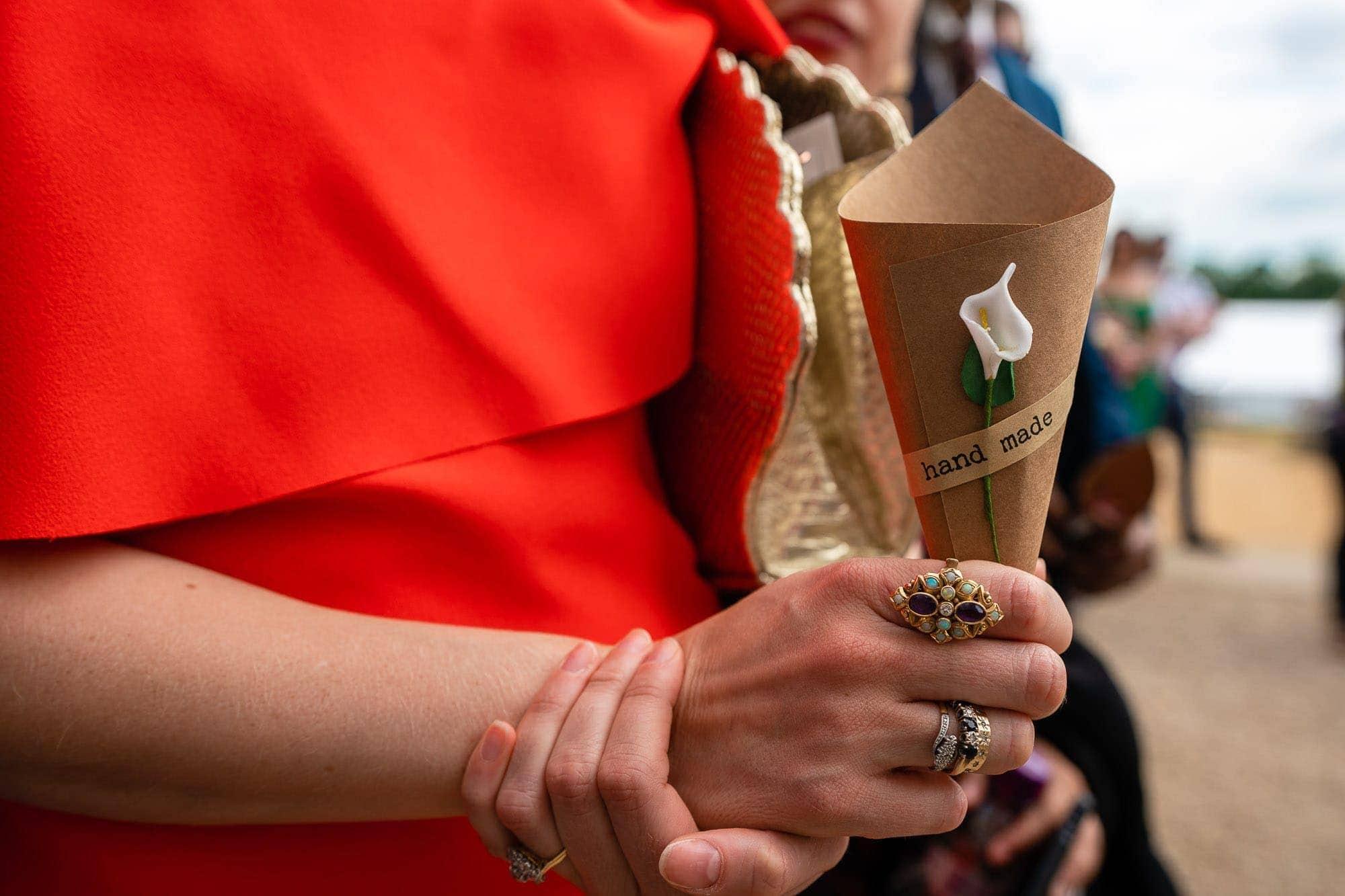 Confetti Cone, brown card, white flower, hand made