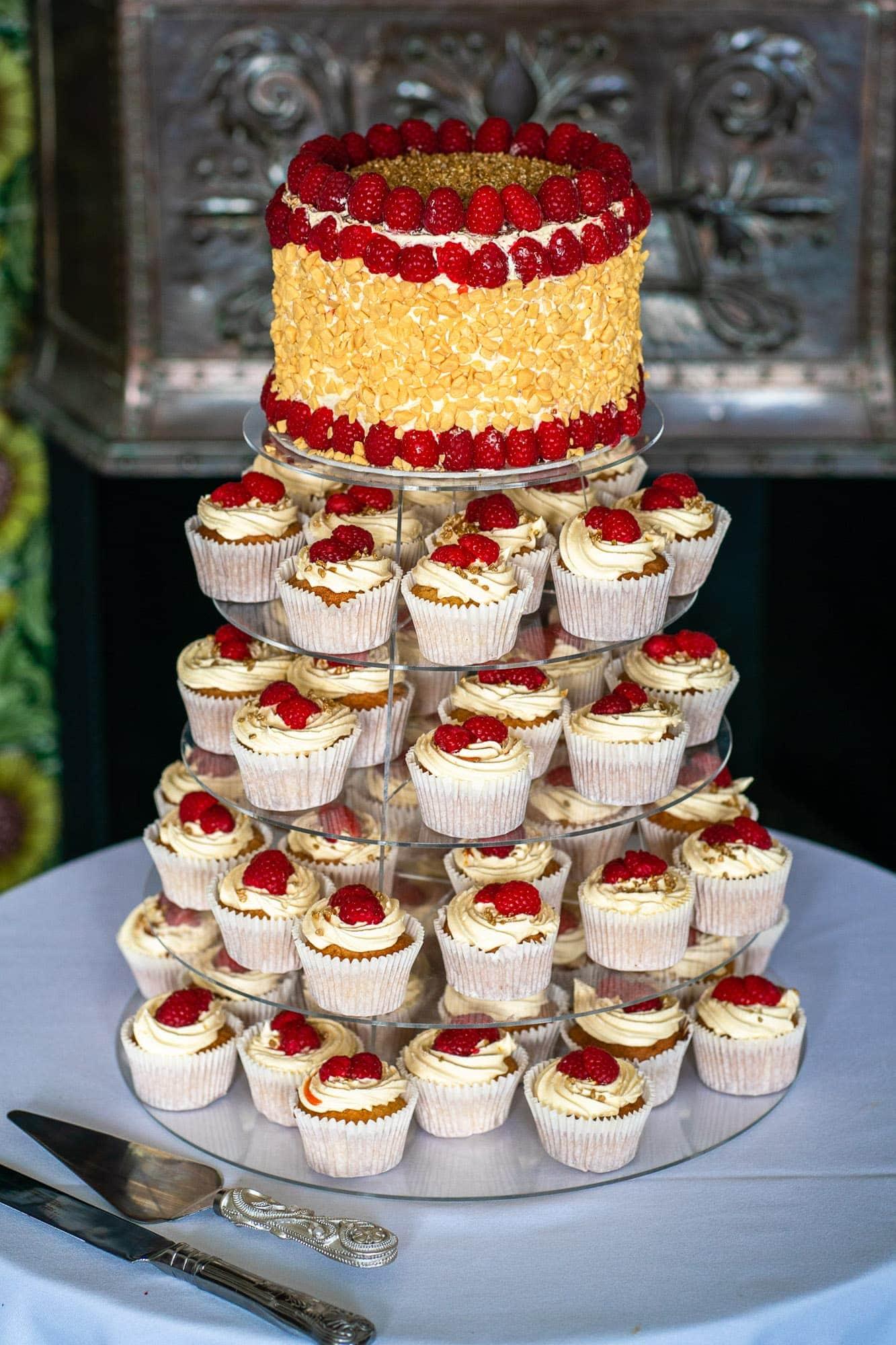 Wedding Cake, cupcakes with strawberries plus top cake