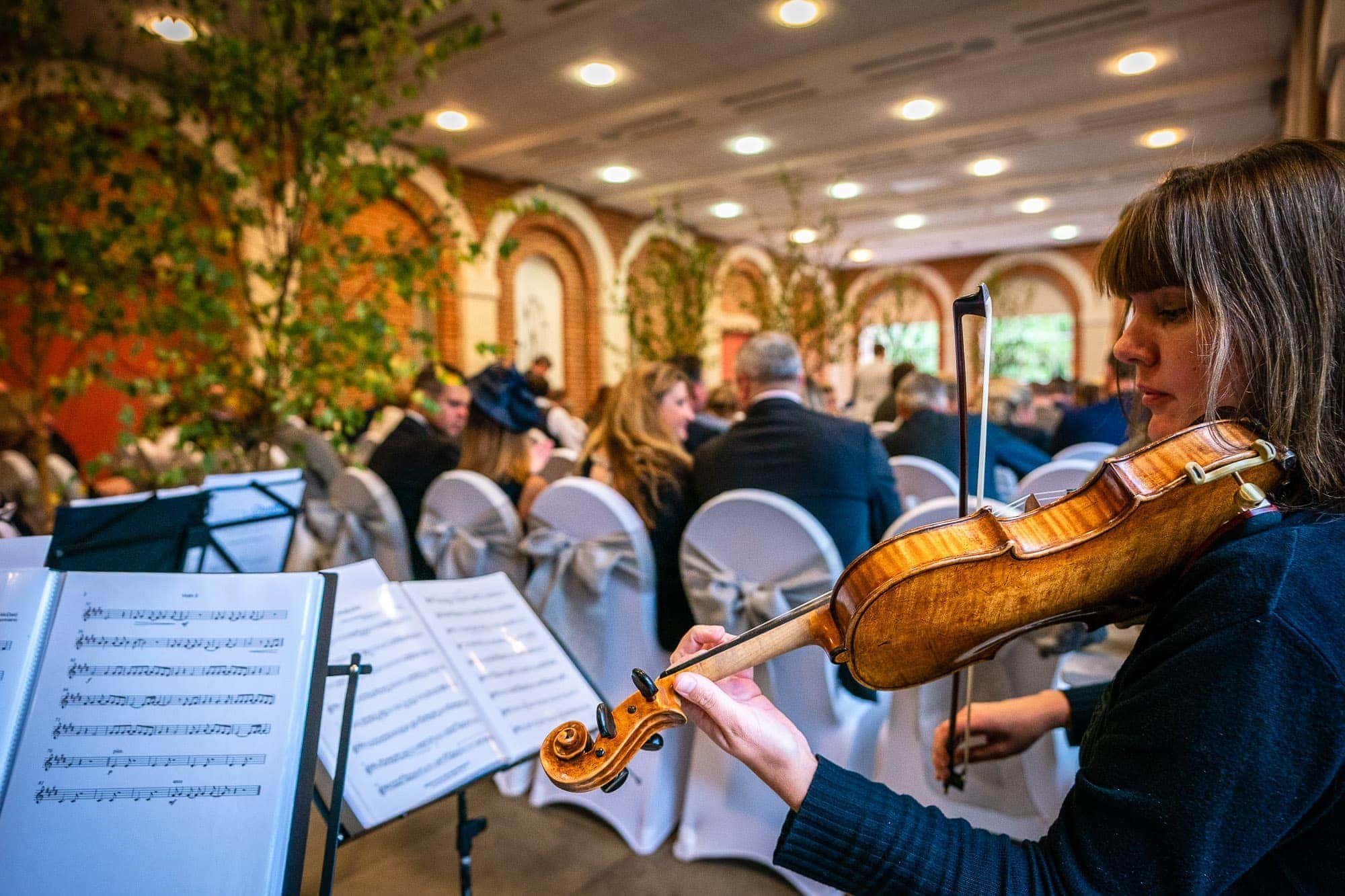 Violin playing at Great Fosters Wedding