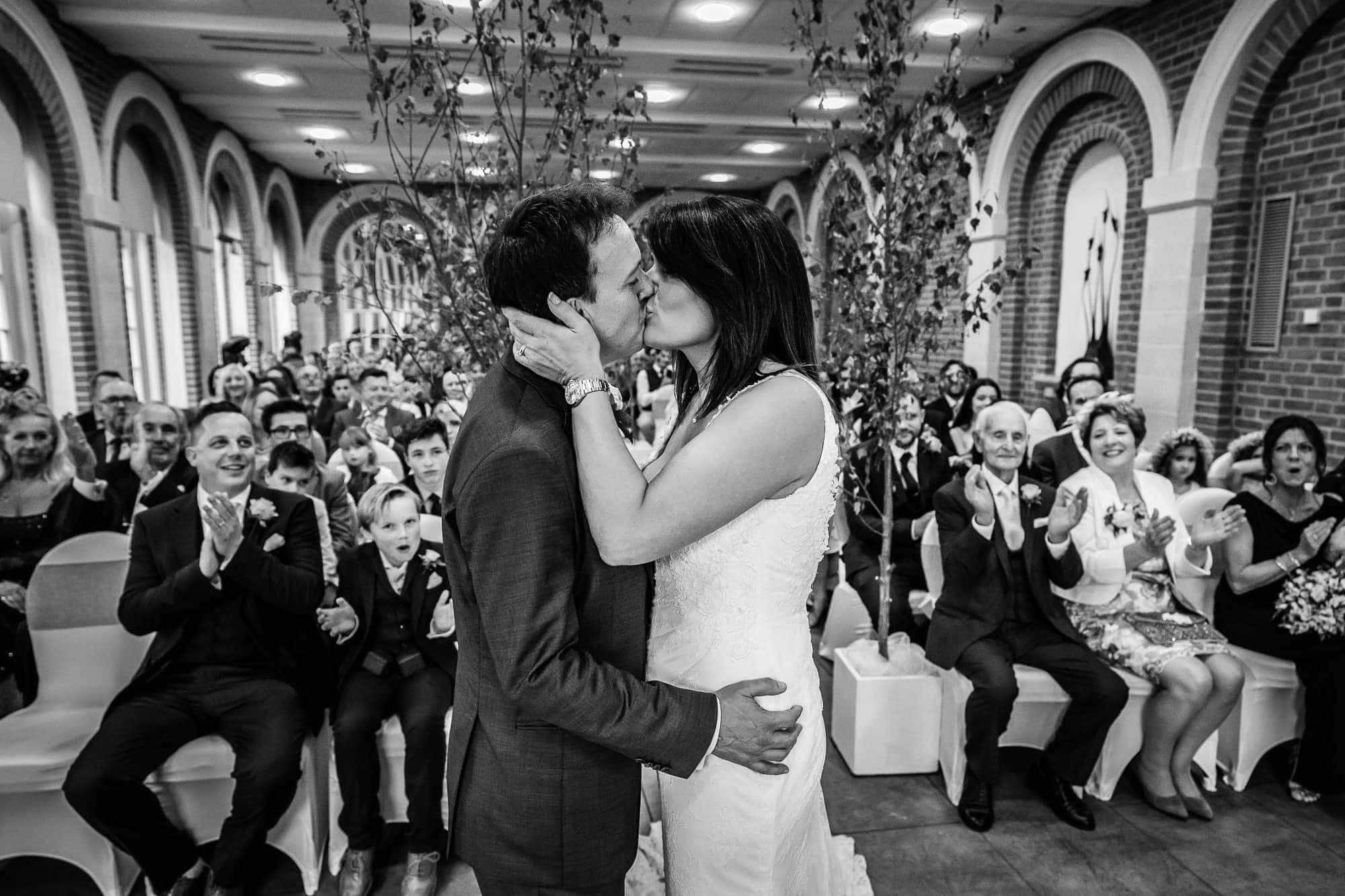 First Kiss, Great Fosters Orangery wedding