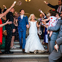 Hampshire Wedding Photographer - Confetti at Farnham Castle Wedding